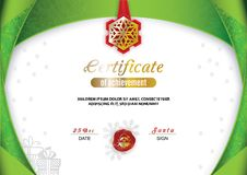 Christmas certificate. Green border and snowflake emblem, Gold portrait of Santa on the red wafer. Bright Xmas. Background vector illustration