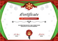 Christmas certificate. Green red border and snowflake emblem, Gold portrait of Santa on the red wafer. Bright Xmas background. Merry Christmas card Royalty Free Stock Photo