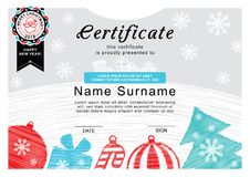 Christmas certificate. Santa on the badge, christmas tree and decoration. Simple draw. Merry Christmas background Stock Photos