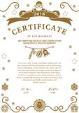 Christmas certificate. Santa and christmas decorations on white background. Brown design elements on white background. Monochrome Stock Photography