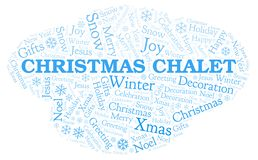 Christmas Chalet word cloud. Wordcloud made with text only stock illustration