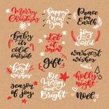 Christmas chalk lettering vector set on craft. Isolated handwriting stock illustration