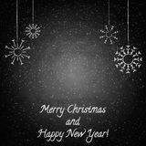 Christmas chalkboard background with snowflakes Royalty Free Stock Photos