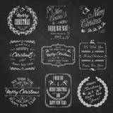 Christmas Chalkboard Set. Vintage Christmas And New Year Design Elements Set. Typographic Background With Chalk Word Art On Blackboard. Vector Illustration stock illustration