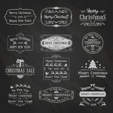 Christmas Chalkboard Set2. Vintage Christmas And New Year Labels and Badges Set. Typographic Background With Chalk Word Art On Blackboard. Vector Illustration royalty free illustration