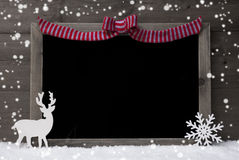 Christmas Chalkboard, Snowflakes, Reindeer, Copy Space, Snow Stock Image