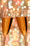 Christmas champagne. Two glass glasses with champagne Royalty Free Stock Photography