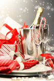 Christmas champagne Stock Photos