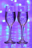 Christmas champagne. Two glass glasses with champagne Stock Image