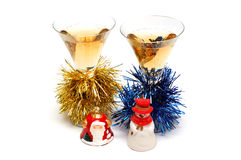 Christmas champagne and Christmas-tree decorations Royalty Free Stock Photos
