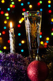 Christmas champagne in dark Stock Photography