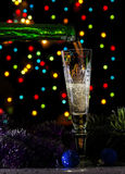Christmas champagne in dark Royalty Free Stock Photos