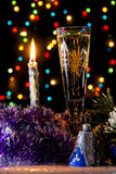 Christmas champagne in dark Royalty Free Stock Photo