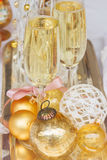 Christmas champagne glasses Royalty Free Stock Photos