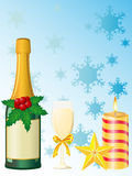 Christmas champagne  illustration Royalty Free Stock Images