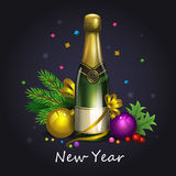 Christmas Champagne. Illustration of Christmas champagne with circles Stock Images