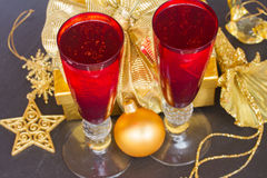 Christmas champagne Stock Photo