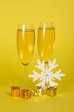 Christmas champagne in wine glasses small gift Royalty Free Stock Image