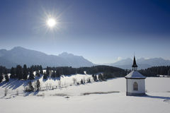 Christmas chapel. At cold winter day nearby alps mountains in upper bavaria, germany Stock Images