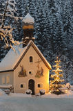 Christmas chapel and tree. In upper, bavaria, germany Stock Images