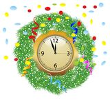 Christmas chaplet with a clock, serpentine and confetti Royalty Free Stock Photography