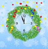 Christmas chaplet with a clock, serpentine and confetti Stock Photography
