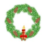 Christmas chaplet with  cones and candle Stock Photo