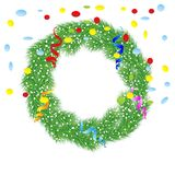 Christmas chaplet with a serpentine and confetti Royalty Free Stock Photography