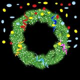 Christmas chaplet with a serpentine and confetti Royalty Free Stock Images