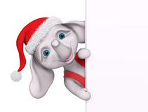 Christmas character cartoon elephant with poster 3d rendering Stock Photos