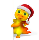 Christmas character dragon with poster 3d rendering Stock Photography