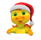Christmas character dragon with poster 3d rendering Stock Images