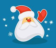 Christmas character, new year old man with beard Santa Claus. Wearing hat and waving hand vector. Snowing snowfall and snowflakes, welcoming gesture of senior stock illustration