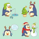 Christmas Character - Penguin. Cute cartoon penguins on blue background Royalty Free Stock Image
