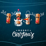 Christmas character, Santa Claus snowman, reindeer. Christmas characters, Santa Claus snowman and reindeer, made from wine cork, art and craft Christmas Royalty Free Stock Photos