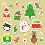 Christmas Character Stickers Set, Cartoon Vector Royalty Free Stock Images