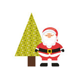 christmas character with tree icon Royalty Free Stock Photography
