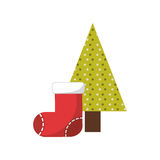 christmas character with tree icon Royalty Free Stock Photo