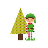 christmas character with tree icon Royalty Free Stock Image