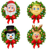 Christmas Character Wreaths Stock Images