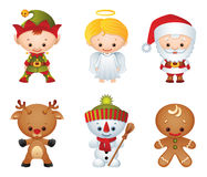 Christmas characters. Vector illustration - Christmas characters icon set stock illustration