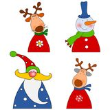 Christmas characters. Colorful graphic illustration for children Royalty Free Stock Photography