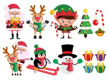 Free Christmas Characters And Elements Vector Set With Santa Claus, Reindeer, Elf And Snowman Royalty Free Stock Photography - 126373977