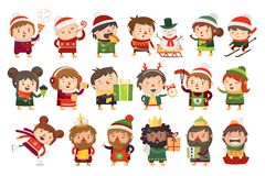 Christmas characters children and adults celebrating upcoming holidays. stock illustration