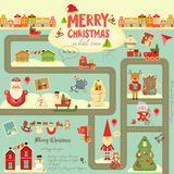Christmas characters on City Map Royalty Free Stock Photography
