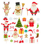 Christmas characters and festive new year decorations. Santa Claus, snowman, reindeer, decorations for Christmas trees, gifts Stock Image