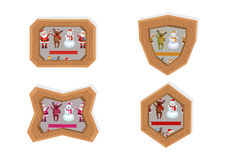 Christmas characters frames Royalty Free Stock Photo