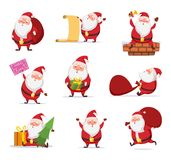 Christmas characters of funny santa in dynamic poses. Vector mascot design in cartoon style Stock Photo
