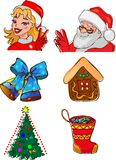 Christmas characters and gifts. Set of different christmas characters and gifts Stock Image