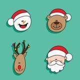 Christmas characters. Christmas happy characters snowman, bear, deer and santa Royalty Free Stock Photos